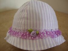 Baby Girls' Hat, Bonnet Purple & White One Size 0 + , Kids' Clothing Accessories