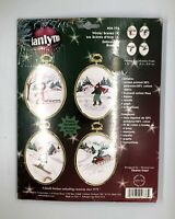 JANLYNN Embroidery Ornaments 2002 Winter Scenes Set Of 4 USA New 04-776