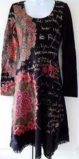 Desigual Ladies Dress, Scoop Neck, Lace Hem, Black&Multi, Size M