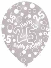 6 x Silver Wedding 25th Anniversary Balloons Helium or air fill Party Decoration
