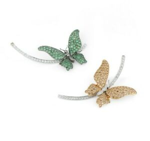 Pretty Butterfly In 925 Two Tone Silver With Green Emerald, Citrine & CZ Earring