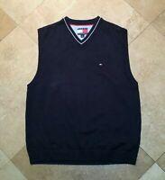Tommy Hilfiger V Neck Pullover Sweater Vest 100% Cotton Blue L