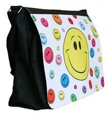 Umhänge-Tasche großer Smiley Laptop - Schultertasche, Schultasche Messenger Bag