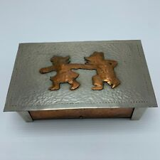 Vintage Copper and Pewter Hand-hammered Trinket/Cigarette Box Arts and Crafts