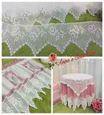 "1Y Vintage Victorian Hand Crochet Lace Trim~8"" Wide~White~Cotton~Beautiful Rose~"