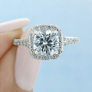 2.35 TCW Round Forever Moissanite Halo Engagement Ring in 14K White Gold Plated