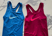 Bundle of Two Girls Size Large Nike Tank Tops Pink and Blue Euc