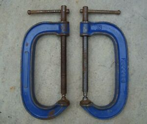 """2 x RECORD STANDARD SERIES 6"""" G CLAMPS IN GOOD USED CONDITION ~ 1980's"""