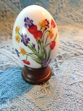 NOS AVON GIFTS OF NATURE PORCELAIN EGG COLLECTION SPRING'S TREASURE W/WOOD STAND