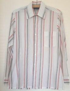 Mens Arnold Palmer shirt 15 38cm white striped pink grey retro