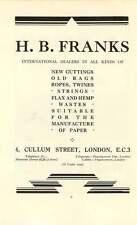 1937 A Mason Global Works Manchester Hb Franks Cullum Street Scrap Ad