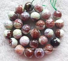 """14mm Natural Agate Faceted Round Loose Beads 15"""""""