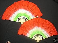 "2 CHINESE 16"" RED GREEN DANCE HAND FAN WAVY EDGE STAGE PARTY SPECIAL EFFECT L13"