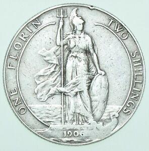 1906 EDWARD VII FLORIN, BRITISH SILVER COIN aVF