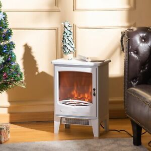 Freestanding Electric Fireplace Stove Heater with Realistic Flame Effect White