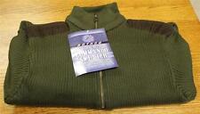 NEW Commando Style BLACK Quarter Zip Sweater Suede Patches Men's XL XLarge