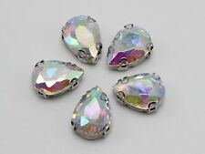 20 Clear AB Crystal Glass Teardrop Rose Montees 13X18mm Sew on Rhinestones Beads