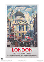 LONDON ST PAUL'S CATHEDRAL VINTAGE RETRO RAILWAY TRAVEL POSTER ART ADVERTISING