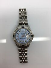 ROLEX  DATEJUST LADIES STEEL BLUE MOTHER OF PEARL DIAL DIAMOND BEZEL No Reserve