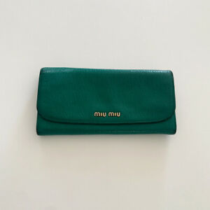 Miu Miu Madras Mango Green Leather Multi-Compartment Wallet