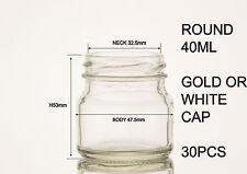 30pcs* 40ml mini glass ROUND jar with cap for jam honey food wedding etc