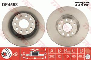 TRW Brake Rotor Rear DF4558S fits Volkswagen Touran 2.0 FSI (1T1), 2.0 TDI (1T1)