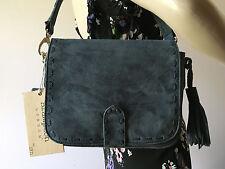 Brampton London Charcoal Gray Suede Tassel Shoulder Handbag NWT