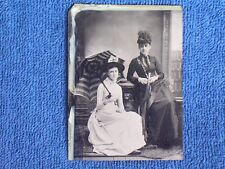 2 Seated Pretty Young Women/Open Striped Parasol-Umbrella/Hats.1/6 Plate Tintype