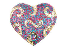 My Heart Fashion Pin Brooch Jewelry Large Diamante Crystal Glitter Swirl Hold On