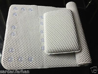 NEW EXTRA LONG CUSHIONED BATH MAT WITH MATCHING RELAXING BATH PILLOW