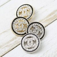 Chanel Buttons 4pc CC Gold/Silver & Crystals 20mm 4 Buttons unstamped AUTH!!!