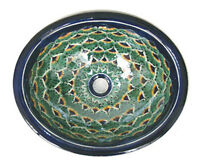 SMALL 16x11.5 MEXICAN BATHROOM SINK CERAMIC DROP IN UNDERMOUNT BASIN bn #117