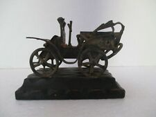 Folk Art Scrap Metal Antique Brass Car on Wood Base Horseless Carriage
