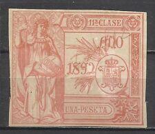 4117-SELLO FISCAL CLASICO ESPAÑA COLON 1892 CENTENARIO DESCUBRIMIENTO 1 PESETA