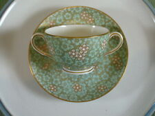 Royal Worcester Richard Briggs Boston Green & Gold Double Handle Cream Soup Cup