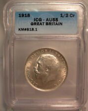1918 Great Britain UK 1/2 CROWN - ICG Certified AU55 coin SILVER HALF KM#818.1