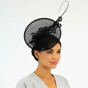 Jendi Black Plate Fascinator with Lace Detail and a Stick