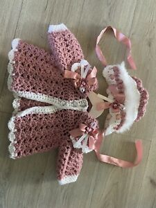 Romany Hand Crochet Baby Girl Cardigan & Bonnet 6-9 Months