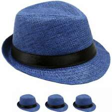 KIDS TRILBY FEDORA HAT STRAW KID GIRL BOY ROYAL BLUE PANAMA HAT 1e88c7aa7734