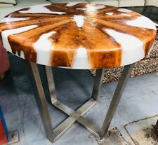 TEAK TIMBER & WHITE RESIN ROUND TABLE WITH STAINLESS LEGS