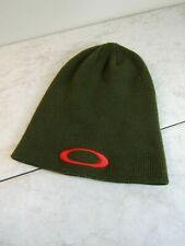 Oakley Olive Green/Red Logo Knit Beanie Ski Snowboard Hat Unisex OSFA