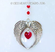 m/w Swarovski *Vintage Siam Heart* Angel Wings Suncatcher Lilli Heart Designs