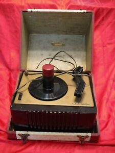 RCA Victor 45 EY 2 Record Player and Wood Carrying Case Parts or Repair Only 50s