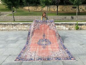 Floral Peach Turkish Antique Rug Lowpile Distressed Oushak Rug Tribal Runner Rug