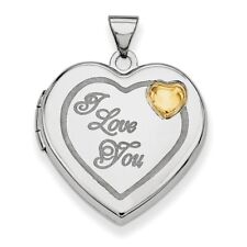 .925 Sterling Silver with Gold-plating Heart Locket Charm Pendant MSRP $118