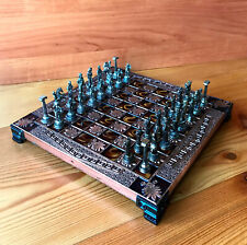 Schachspiel Messing Kupfer Spiele Zinn Metall Griechisch