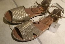 🍀Ladies/ Teens Gold Open Toe Gladiator Sandals W Ankle Strap New Sz 6-8