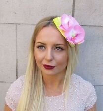 Yellow Light Pink Orchid Flower Fascinator Teardrop Races Vintage Hair Band 2566