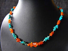 "Rare 925 sterling silver Cariko Lake TURQUOISE & AMBER gemstone necklace 18.25"""
