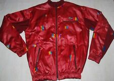 CASTELLI CYCLING JACKET VINTAGE TOP TRACKSUIT RED SHINY BURGUNDY FULL ZIP L XL